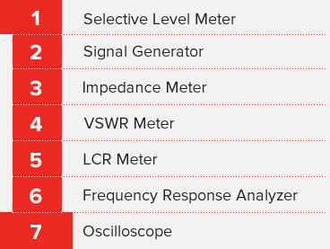 Selective Level Meter, Signal Generator, Impedance Meter, VSWR Meter, LCR Meter, Frequency Response Analyzer, Oscilloscope