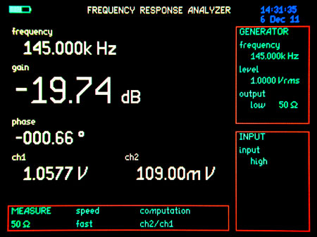 Frequency Response Analyzer home screen