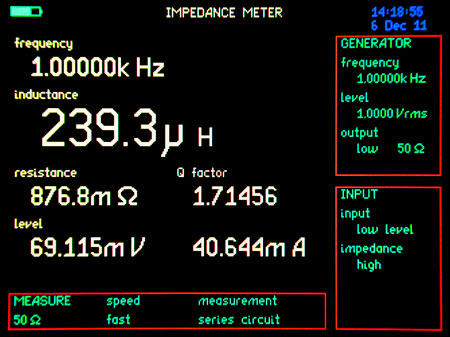 Inductance meter home screen